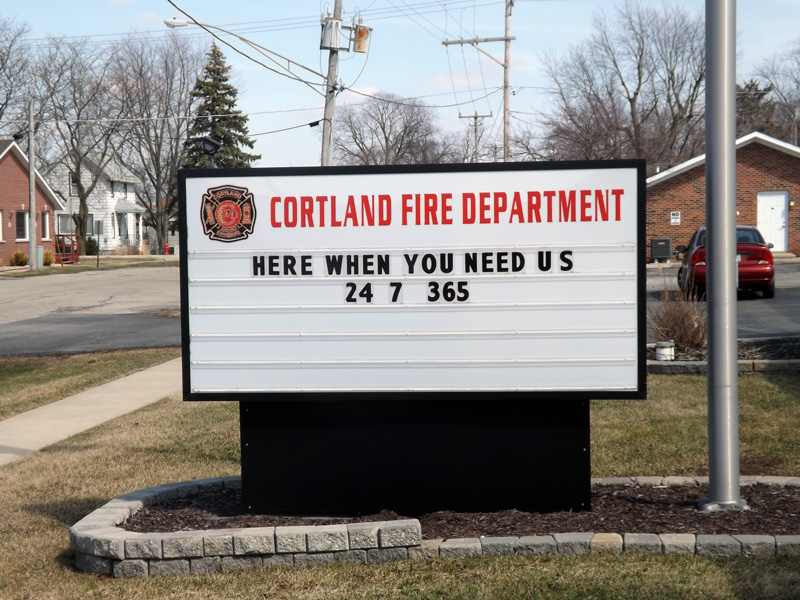 Cortland Fire Department sign